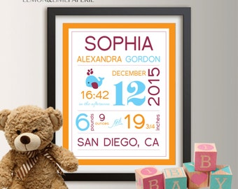 Personalized birth etsy personalized birth announcement personalized wall art with baby stats new baby gift girl negle Images