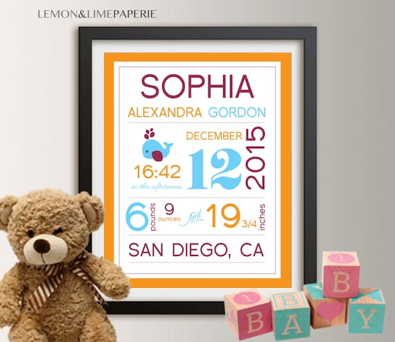 Personalized birth announcement personalized wall art with like this item negle Images