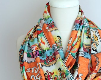 Flintstones Pattern Infinity Print scarf, Loop Scarf geek Circle Scarf Gift ideas for her, Spring - Summer - Fall - Winter Session