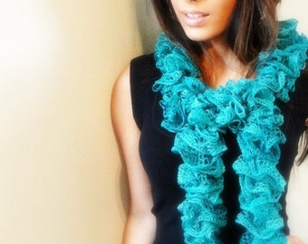 TURQUOISE SCARF, Ruffle Scarf, Winter Accessory, Knit Scarf