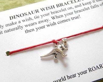 Dinosaur Wish Bracelet - Wish Bracelet - Dinosaur Bracelet - Party Favor - Wishing Bracelet - Dinosaur Charm Bracelet - Stocking Stuffer