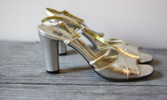 1970s gold strappy sandals // 1970s Givenchy shoes // vintage heels