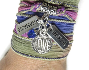 Inspirational Silk Wrap Bracelet  Yoga Jewelry Love Summer Ribbon Bracelet Bohemian Beach Jewelry Namaste Spiritual Wrist Band Gift For Her