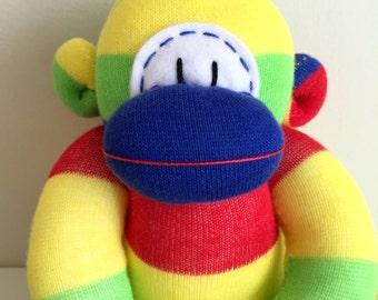 Large Rainbow Stripy Sock Monkey