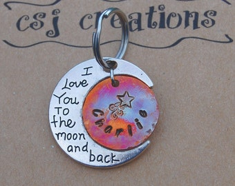 Custom Dog ID Tag, I Love You to the Moon and Back, Custom Heat Colored Copper Tag, Custom Copper Large Dog Tag, Celestial Copper ID Tag