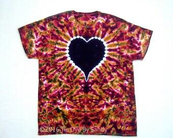 SALE! 2XL Tie Dye Shirt Garnet and Gold Heart