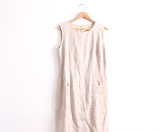 Minimal Linen 90s Shift Dress