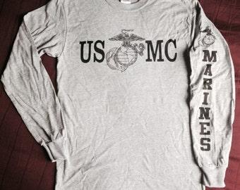 "Gray Marine Corps PT Long Sleeve T-Shirt ""USMC"" EGA Tee"