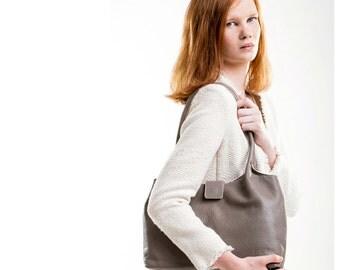 Leather shoulder bag,taupe leather bag, leather handbag, taupe pebbled tote bag FREE SHIPPING