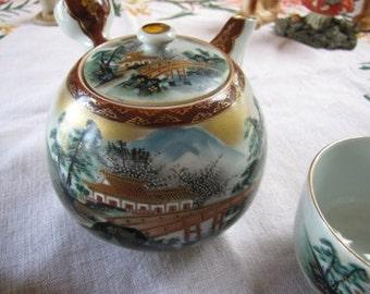 Kutani Ceremonial Tea Set, Tea Pot w/ 4 lidded tea cups, Signed