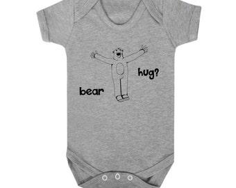Bear baby bodysuit, hug lover, funky animal illustration, hipster kids, unisex infant gift