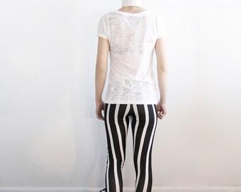 Women leggings black and white stripe leggings