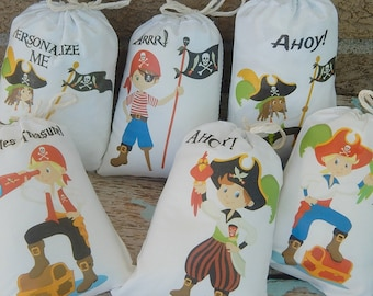 """Pirate Favor Bags for Birthday Party use for Treat's or gifts Caucasian or African American Can be personalized 5"""" X 7"""" or 6"""" X 8"""" Qty 10"""