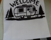 Kitchen Tea Towel Dish Towel Embroidered WELCOME Campsite Retro CAMPER Trailer Design with Black CheckedHem