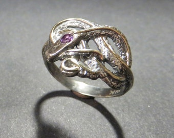 Knotted Snake Ring - Sterling Silver Snake Ring with Gold Inlay and Tourmaline