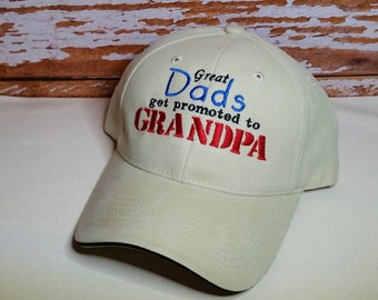 Great Dads get promoted to Grandpa Hat Perfect for Grandpa, Birthday or Father's Day