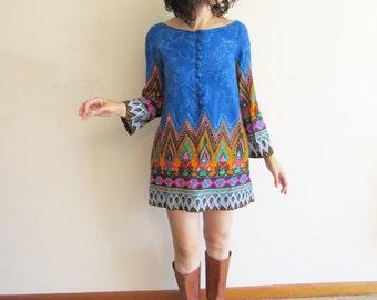 Vintage 60s Ethnic Indian Hippie Boho Festival Psychedelic Super Mini Tunic Shift Dress