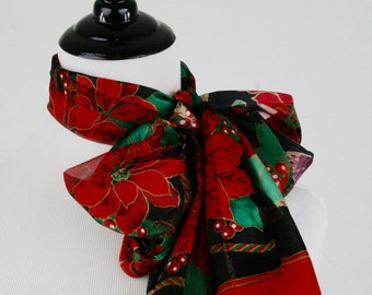 Vintage Christmas Poinsettia Oblong Scarf