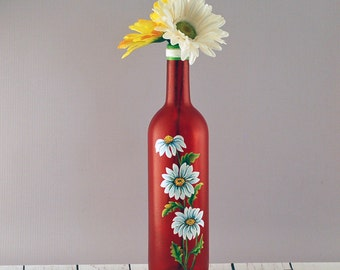 Red daisy wine bottle vase, hand painted