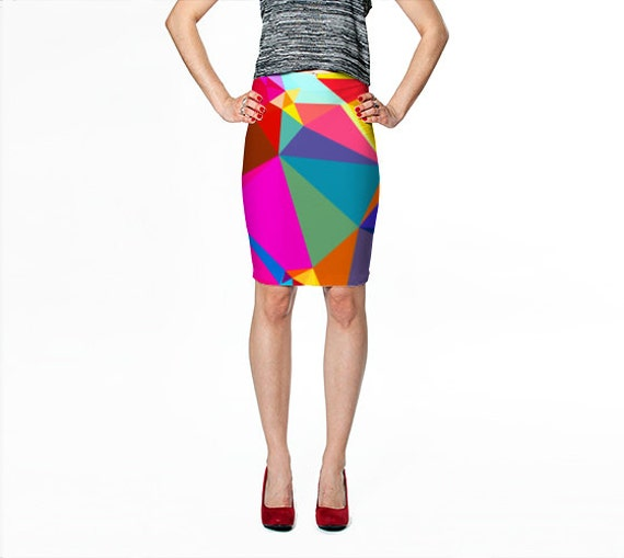 fitted pencil skirt colorful skirt geometric print skirt