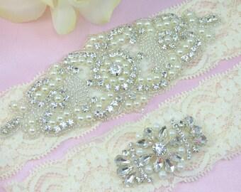 Ivory Wedding Garter, Rhinestone Bridal Garter, Pearl and Crystal Garter Set, Lace Wedding Garter, Keepsake Garter, Toss Garter, Garters