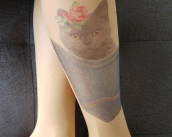 Cat Printed Tights, Cat print tights, Tattoo Tights, Pantyhose, Stocking, Animal print