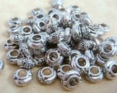 Spacer Bead - Flower Design, Large Hole Rondelle Spacer - 6mmx4mm, 3mm Hole - Antiqued Silver - Qty. 30 (43334AS)