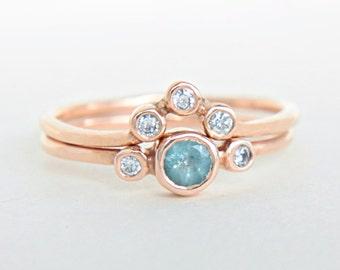 Aquamarine and Diamond Wedding Set 14k Rose Gold Ring Aquamarine Diamond Gold Ring V Shape Diamond Wedding Band Aquamarine Ring