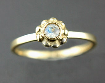 Rainbow Moonstone Engagement Ring 14k Yellow Pink White Gold Ring Made in Your Size Moonstone Gold Ring June Birthstone