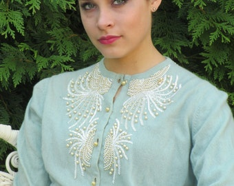 Late 1950s Early 1960s Hadley Cashmere Robin's Egg Blue Beaded Cardigan Sweater with Pearls