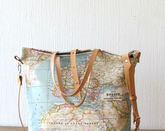 Last one in stock! Canvas Tote Bag, World Map Tote Bag, Travel Bag, Crossbody bag Canvas Purse, World Map Bag, Tote Bag with pockets