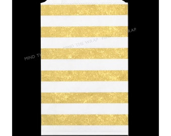 25 Gold Metallic Horizontal Stripe Treat Bags - 5 x 7.5 inch  Middy  Bags - Gift Wrap Treat Bags Wedding Party Favors - USA made