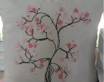 Embroidered Cherry Blossom Pillow