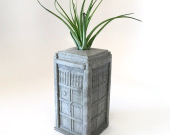 Concrete Tardis Planter - Dr. Who Inspired - Whovian - Includes Air Plant