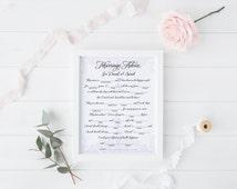 DIY Printable Wedding Mad Libs Keepsake Game - Marriage Advice