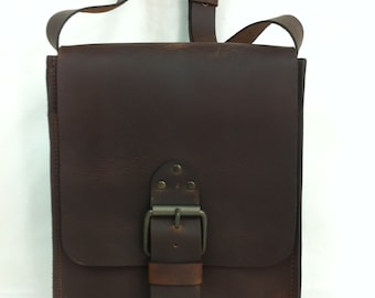 Classic Handcrafted Distressed Brown Leather Bag. Small size Messenger Bag. Shoulder/ Crossbody. A Gift For Men & Women. For Every day use.
