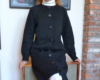 Hand Knit Cardigan Sweater Dress Coat Black Wool 1940s Knee Length Cool Vintage Buttons MINT Chunky Knit