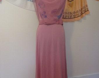 Pink 1940s Style Dress - Pink Evening Dress with Matching Belt and Floral Chiffon Drape