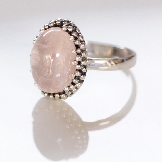 Granulated Rose Quartz Ring, Sterling Silver Ring, Crystal Ring, Statement Ring, Boho Ring, Gypsy Ring, Don Biu, Hippy Rings