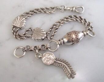 Antique Silver Bracelet  Albertine/Albertina Watch Chain Bracelet with Decorative Hasps, Hand Engraved Tassel Fob & Dog Clip Clasp