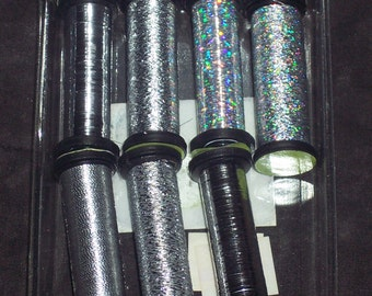 Silver Metallic Thread,7 assorted spools,Artiste brand,Christmas,holiday,winter mixes,silver,holographic,tinsel thread,sewing,embroidery