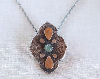 Sterling silver gemstone necklace, silver statement necklace, paisley necklace, chalcedony necklace, moroccan pendant, moroccan pendant