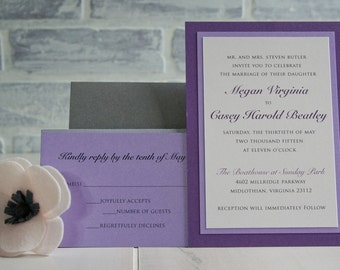 Layered 5x7 Wedding Invitation in Purple and Gray