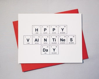 "Valentine's Day Chemistry Card / Periodic Table of the Elements ""HPPY VAlNTiNeS DaY"" / Card for Chemists / Nerd Love  / Adorkable Valentine"