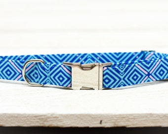 Blue and Lavender Dog Collar -BLACK FRIDAY SALE- Plaid, Metallic Silver, Female, Male, Pet Collar, Pets - Metal Buckle