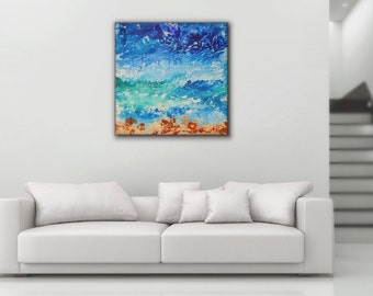 Abstract ocean painting abstract art abstract wall art canvas painting seascape