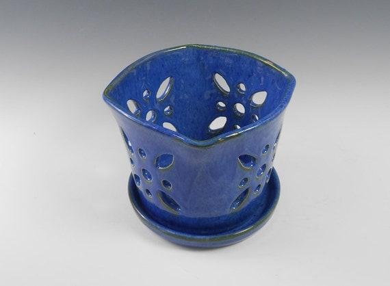 Square Blue Ceramic Orchid Pot Pottery Orchid Pot Pot And