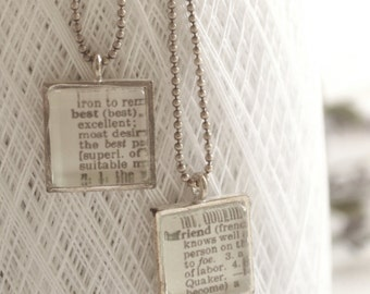 Best Friends Jewelry Necklace Set  Minimalist Dictionary Pages