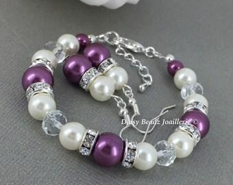 Purple Bracelet Plum and Ivory Bracelet Earrings Set Bridesmaid Gift Purple Jewelry Bridesmaids Bracelet Purple Wedding Gifts