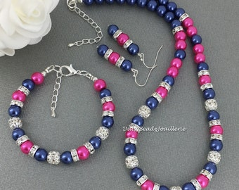 Hot pink and Navy Jewelry Set, Navy and Fuchsia Necklace Bracelet and Earrings Set, Bridesmaids Gift, Summer Wedding, Fuchsia and Navy
